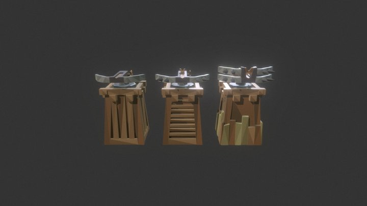 Low Poly Tower Defense Turret Crossbow.unity 3D Model