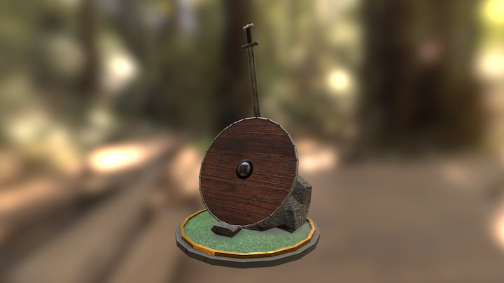 Viking shield and sword 3D Model