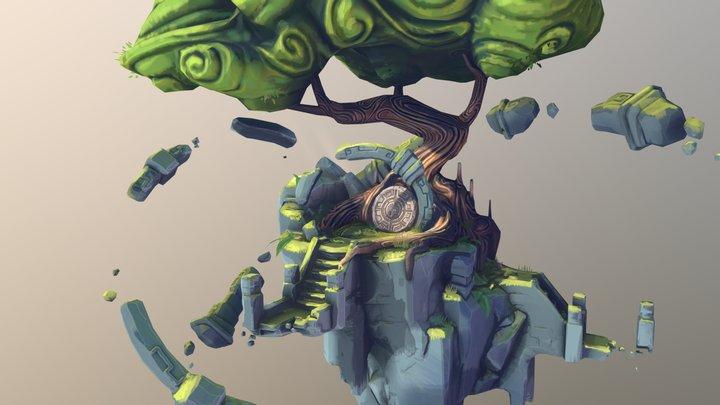 Kima'la, the spirit tree - stylized diorama 3D Model