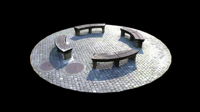 Scanned Benches on Cobble 3D Model