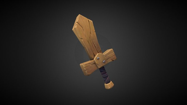 Stylized Wooden Sword 3D Model