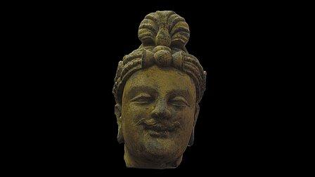 Bodhisattva | 灰片岩塗金雕菩薩頭像 3D Model