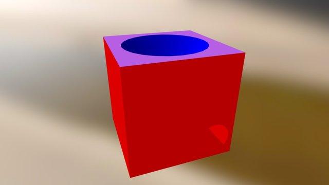 Würfel Mit Kegelloch (zum Besichtigen) 3D Model