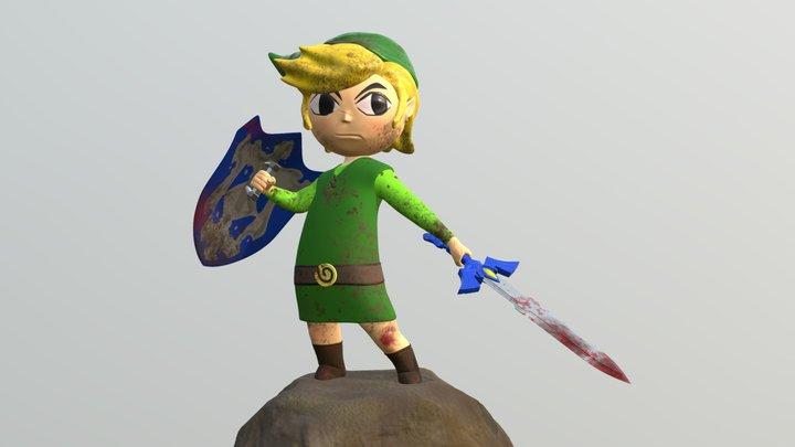 Battle Scarred Toon Link 3D Model