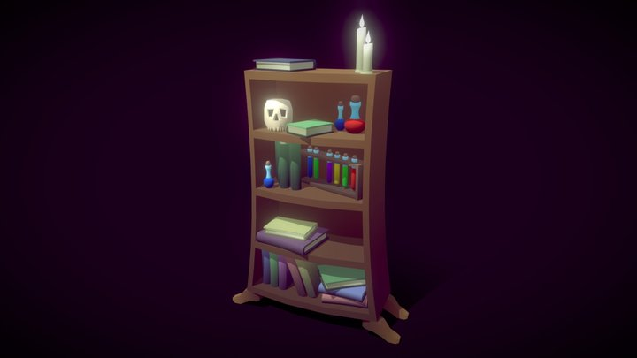 Bookshelf (Low Poly) 3D Model