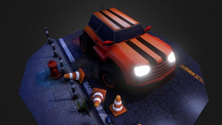 Car Pursuit - Lowpoly Scene 3D Model