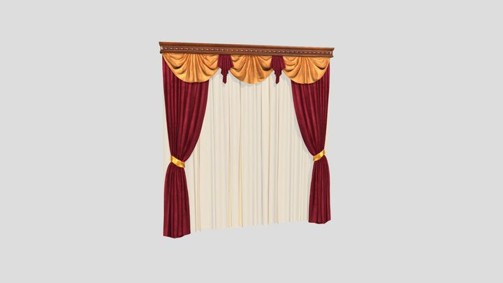 №803 Curtain  3D low poly model for VR-projects 3D Model