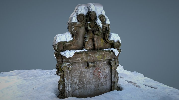 Humbie Kirk Gravestone in Snow 3D Model