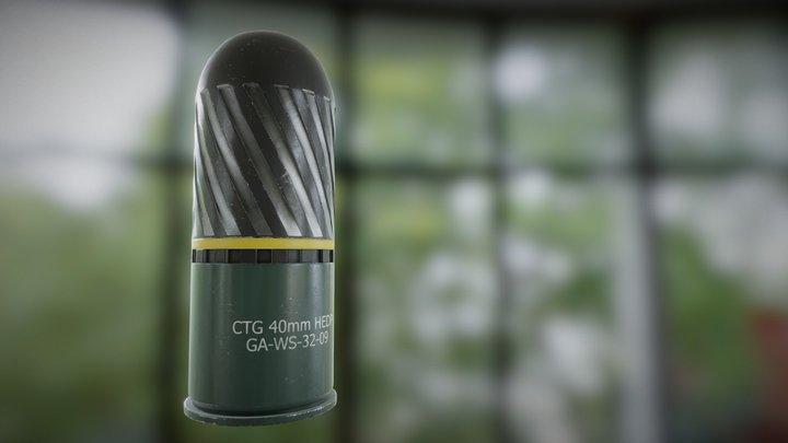 40 MM HE Grenade Concept Art 3D Model