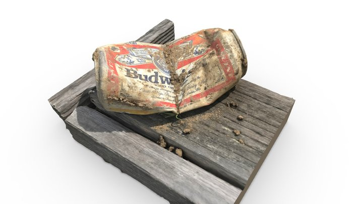 Beer Can on Fencepost 3D Model