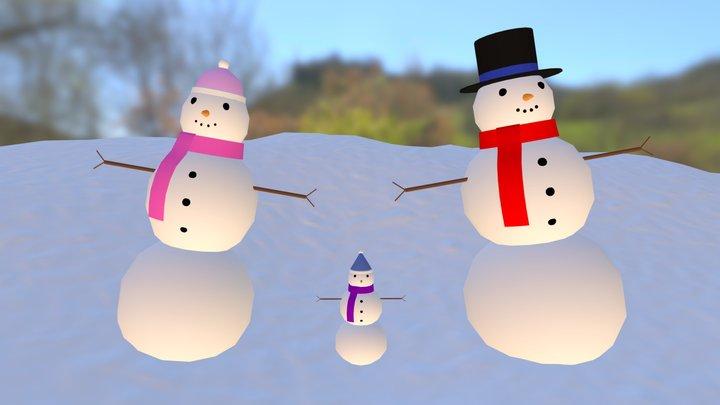 Snowman Family 3D Model