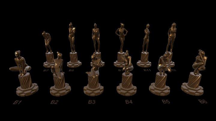 Low-Poly Cast Bronze Figure Sculptures 3D Model