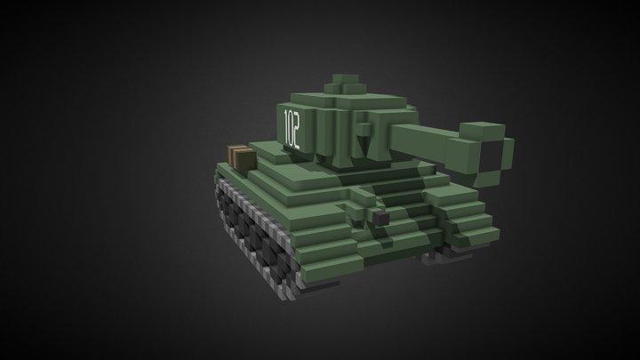 T34-85 aka Rudy 102 - 3D Pixel Tank 3D Model