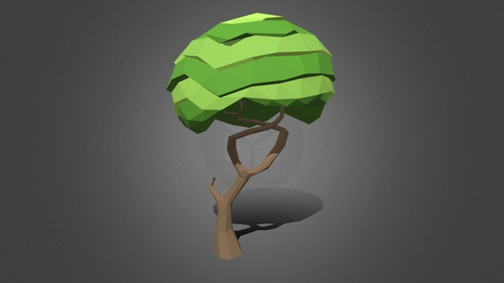 Low Poly Tree with twisting branches 3D Model