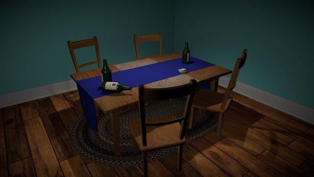Kitchen Table Scene 3D Model