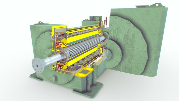 Turbogenerator (slice) | Old work 3D Model