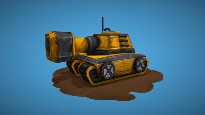 Cute Yellow Tank 3D Model