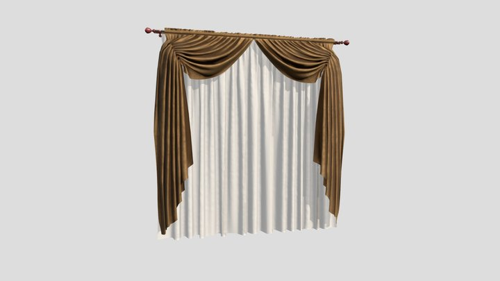 №805 Curtain  3D low poly model for VR-projects 3D Model
