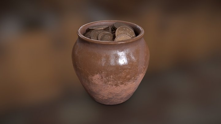 Pot With Coins 3D Model