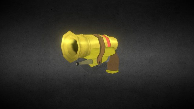 Stylized Steampunk Gun 3D Model