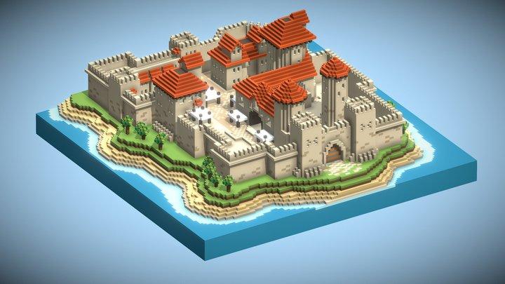 Voxel Castle 3D Model