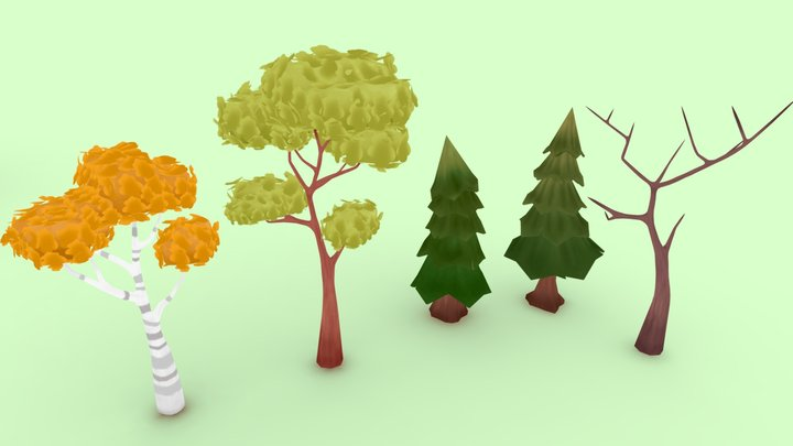 Stylized hand painted trees 3D Model