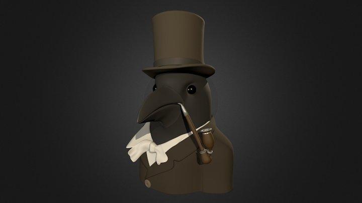 Crow in Top Hat 3D Model