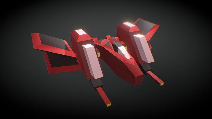 Low Poly Space Fighter 3D Model