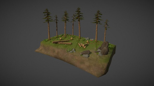 Hand painted forest 3D Model