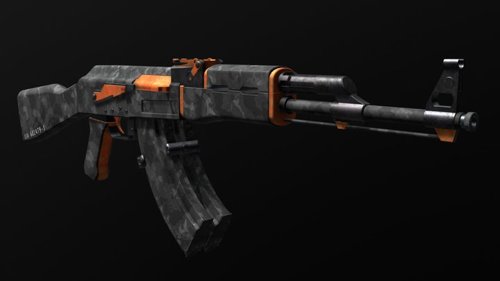 AK-47 with Double Magazine 3D Model