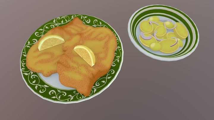 Viennese Cutlet with potato salad 3D Model