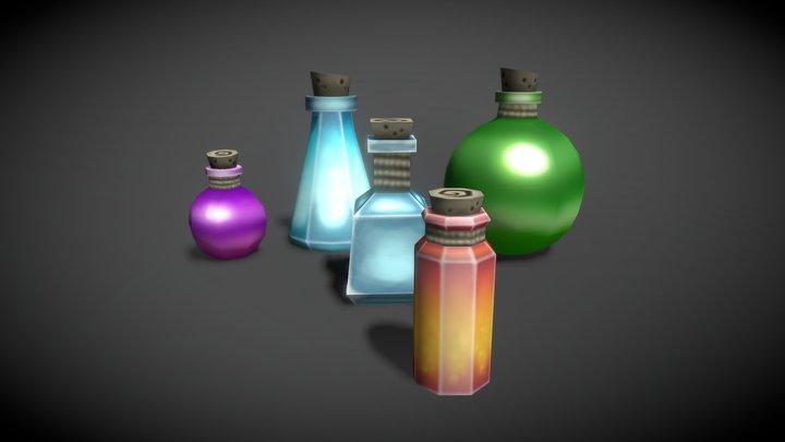 Potion Bottle Pack - Hand-painted Props 3D Model