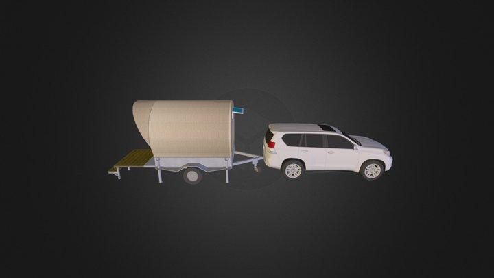 wagon w/ toyota land cruiser 3D Model