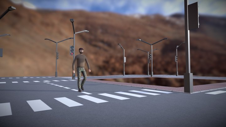 Man on the road 3D Model