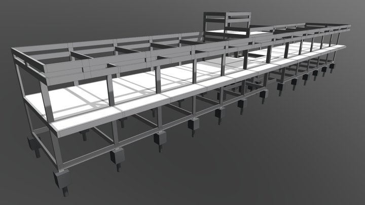 Estrutura para sede de posto de combustíveis 3D Model
