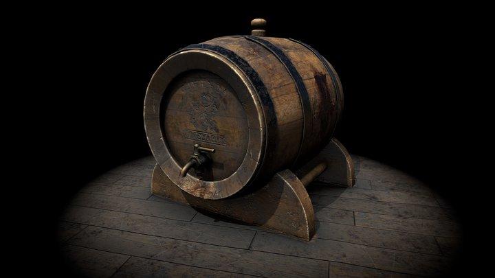 Old Wine Barrel 3D Model