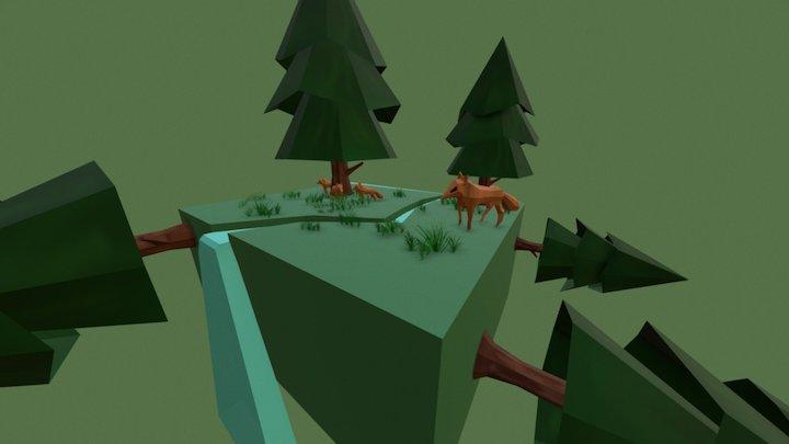 Mini Scene Fox-horse 3D Model