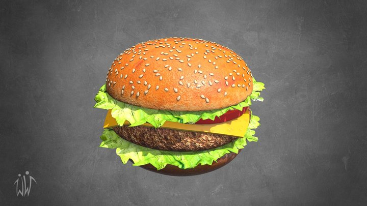 Hamburger with Cutlet and Vegetables 3D Model