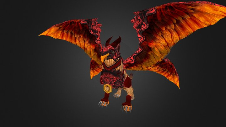 Low Poly WarGriffin_FantasyThrone 3D Model