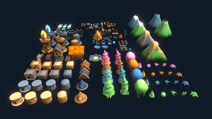 Low poly game pack 3D Model