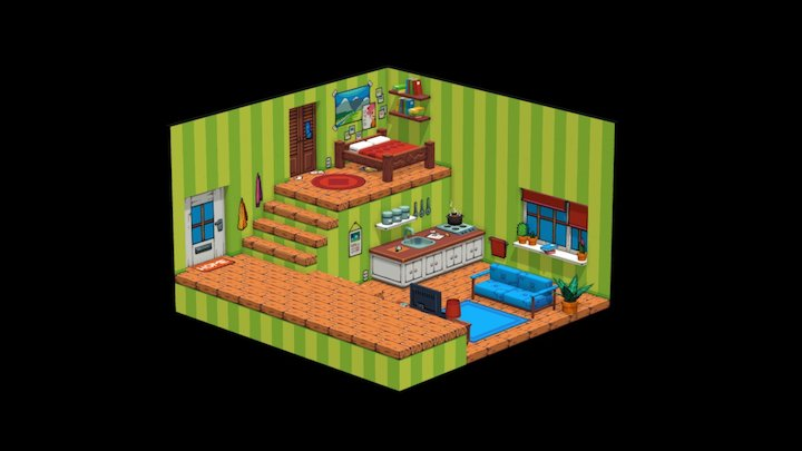 Pixel Art - Isometric Room 3D Model