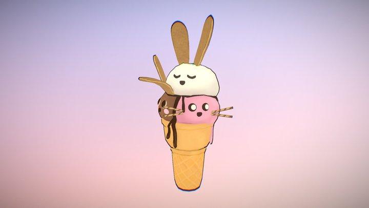 #LowPolyDessertChallenge: Ice Cream Bunnies 3D Model