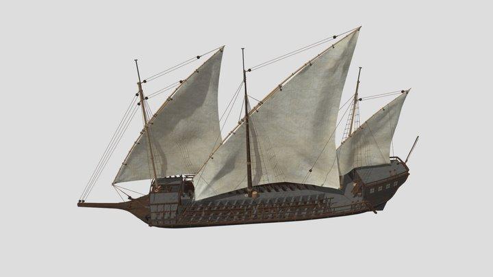 Russian 22-bank Baltic galley 3D Model