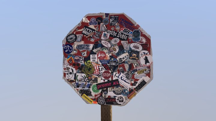 Sticker Stop Sign at Monument Valley 3D Model
