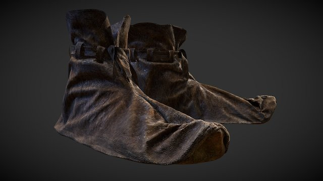 Medieval Lowpoly 3D Leather Shoes 3D Model