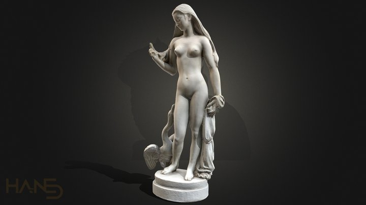 Statue Woman and Swan 3D Model