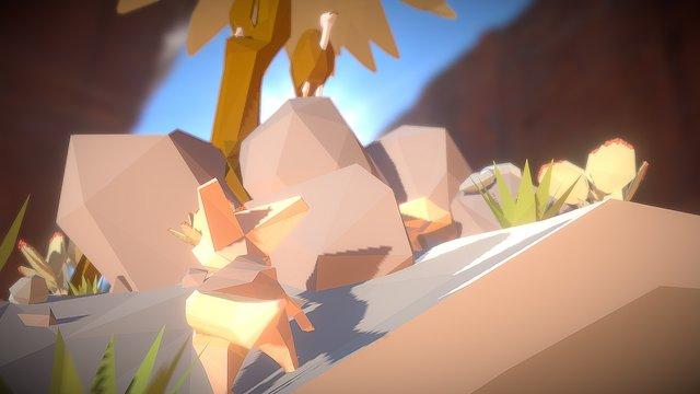 Cartoon Desert 3D Model