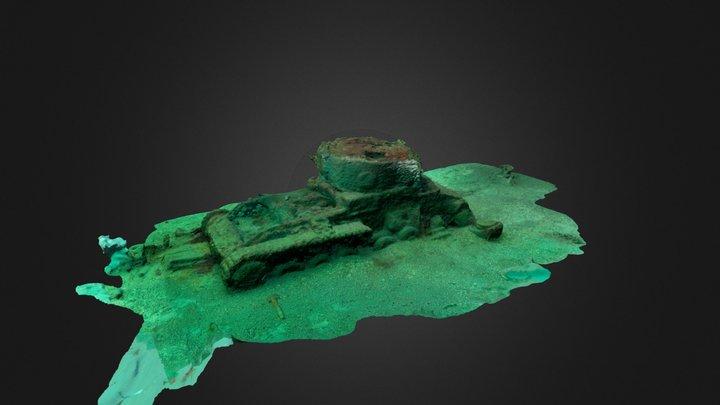 Underwater Valentine Tank Wreck 3D Model