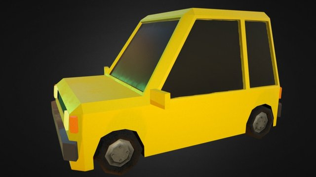 Taxi Lowpoly 3D Model