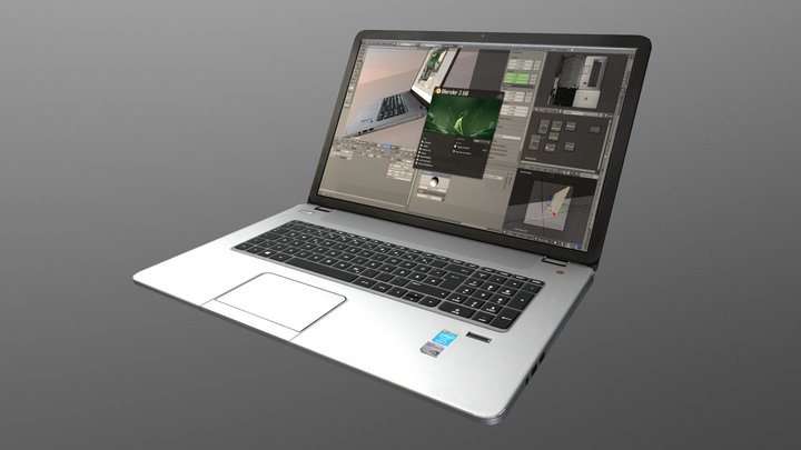 HP notebook Low-Poly Version 3D Model
